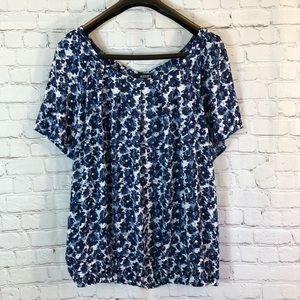 a.n.a. Floral scoop neck top w elastic waist & bow